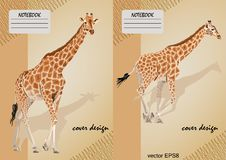 Two covers for notebooks with a giraffe on a beige background stock illustration