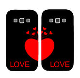 Two covers for the phone with a heart Royalty Free Stock Photos