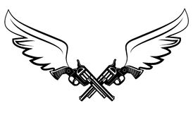 Two cowboy revolver guns vector illustration