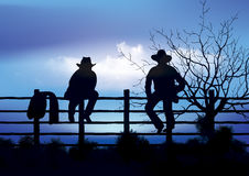 Two cowboys sitting on fence. Computer generated artwork Stock Photography