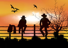 Two cowboys sitting on  fence. Computer generated artwork Royalty Free Stock Photos