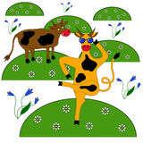 Two cows in a meadow of flowers. One cow is dancing with glasses and the other looks and wonders Stock Photo