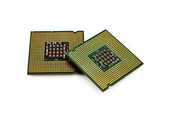 Two CPU. Closeup on white background Royalty Free Stock Photography