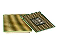Two CPU, hyper DoF. Computer accessories, modern central processors, isolated,  turned, hyper DoF Stock Photos