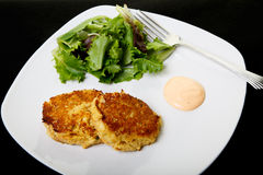 Two Crab Cakes in White Plate on Black Stock Photos