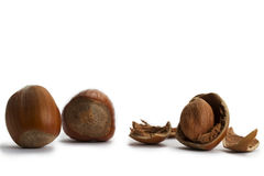 Two and a cracked hazelnut Royalty Free Stock Photos