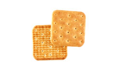 Two crackers top view. Two crackers on an isolated background top view Royalty Free Stock Photography