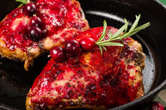 Two cranberry glazed chicken breasts Royalty Free Stock Image