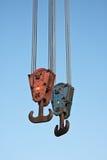 Two crane hooks Stock Images