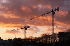 Two crane towers (sunset) Stock Images