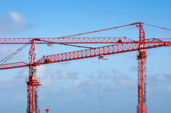 Two cranes. Two crane in the sky Stock Images