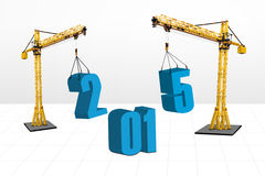Two cranes build number 2015. Build the future concept with two cranes arrange number 2015, isolated over white background vector illustration