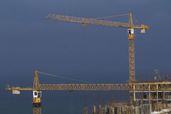 Two Cranes at building Stock Image
