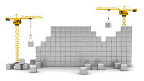 Two cranes building wall. 3d illustration of two cranes building wall with space for text Stock Image