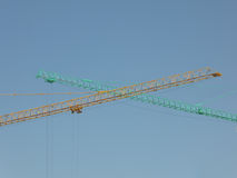 Two cranes green and blue Stock Photo