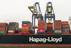 Free Two Cranes Load Hapag Lloyd Ship In Laem Chabang Container Terminal, Thailand Stock Photos - 160145063