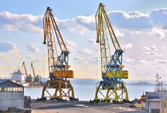 Two Cranes on a port stock photography