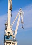 Two cranes in a shipyard Stock Photos