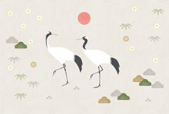 Two cranes with sunrise on japanese patterns Stock Photo