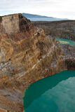 Two crater lakes seen from above. Kelimutu colored crater lakes, Flores, Indonesia. View from above Royalty Free Stock Photos