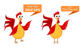 Two crazy cartoon red roosters. Royalty Free Stock Photography