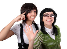 Two Crazy Girls Stock Images