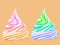 Two cream colored tiers. Two bright mouth-watering multi-level twisted cream, where each level is a different color, on a yellow background. 3D stylizationr Stock Photography