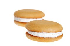 Two cream filled cookies Royalty Free Stock Image