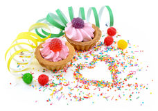 Birthday cakes with jelly berries Royalty Free Stock Image