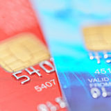 Two credit cards. With shallow DOF Stock Images