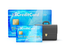 Two credit cards and business briefcase - concept illustration Royalty Free Stock Images