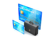 Two credit cards and business briefcase - concept illustration Royalty Free Stock Photo