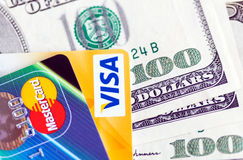 Two credit cards and dollar bills Royalty Free Stock Photo