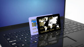 Two credit cards on pc keyboardq Stock Images