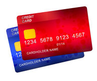 Red and blue credit cards stock image