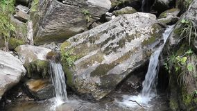 Two creeks and stones. Two creeks with big stones in the summer forest stock footage