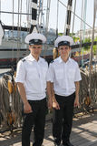 Two crew members of the Krusestern ship Stock Image