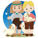 Two crib shepherds with sheep royalty free illustration