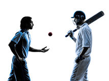 Two Cricket players  silhouette. Two Cricket players in silhouette shadow on white background Royalty Free Stock Photos