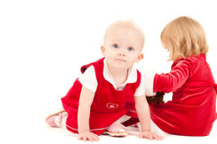 Two cristmas baby girls Stock Photography