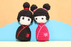 Crochet japanese girls Royalty Free Stock Photography