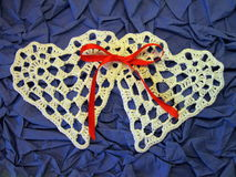 Two crochet hearts Royalty Free Stock Images