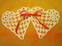 Two crochet hearts Royalty Free Stock Image