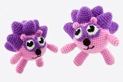 Two crochet hedgehogs. Royalty Free Stock Images