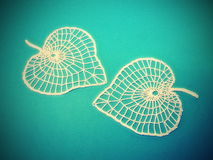 Two crochet leaves Royalty Free Stock Photography
