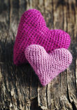 Two crochet pink hearts Royalty Free Stock Photos