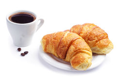Two croissant and coffee Royalty Free Stock Photography
