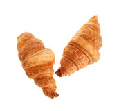 Two croissant isolated on white background.  royalty free stock image