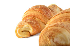 Two croissant on a white background. Two appetizing croissant on a white background Stock Photography