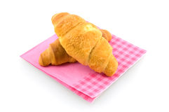 Two croissants. Isolated on white background Royalty Free Stock Photo
